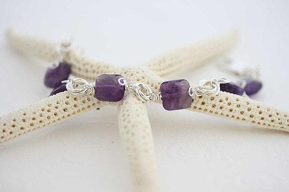 Wisteria sterling silver Bracelet with amethyst  gemstone bracelet, purple