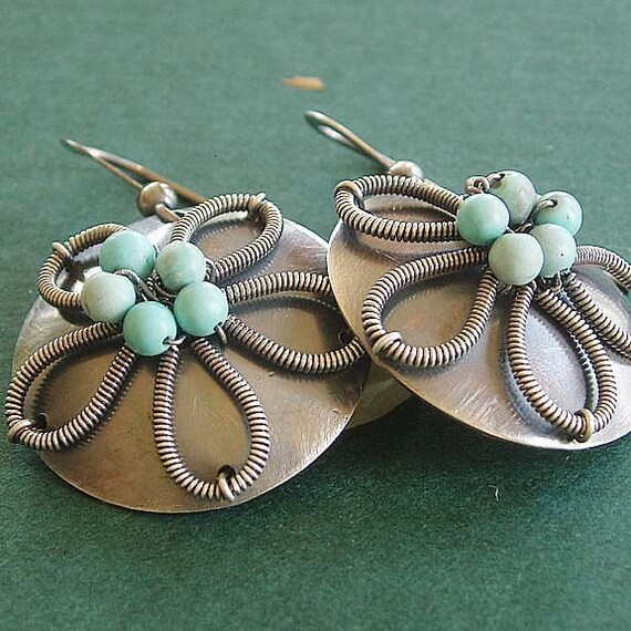 Flower earrings, Sterling silver earrings with turquoise circle earring, round earrings. Sterling silver jewelry