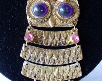 Vintage Metal Owl with vintage Heavy Chain
