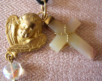 Vintage Onyx cross with Winged Cherub Necklace
