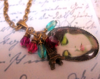 PARIS IN SPRING necklace - sparkling crystals, eiffel tower charm, demure, dark-haired lady