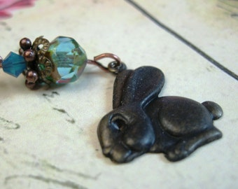 Down the Bunny Trail Necklace No3 - Cute as can be, bunny rabbit pendant on 16 inch ox brass chain