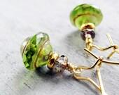 Spring Green Glass Bead Earrings, Gold Filled