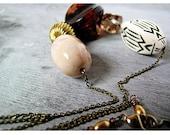 Modern Vintage Bead Necklace Instant Collection Brown Black Cream - Urban Myth