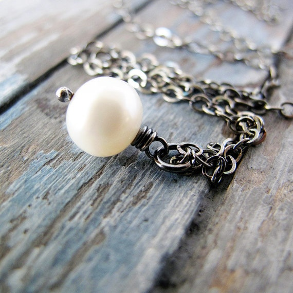 Simple Pearl Necklace: White Freshwater Pearl on Sterling Silver Chain, Antiqued Finish, June Birthstone