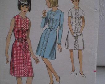Vintage Butterick 3802 Size 9 One Piece Dress 1960s UNCUT