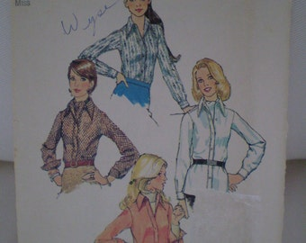 Vintage Simplicity 5802 - Size 14 Bust 36 - Ladies Shirt and Ascot Tie