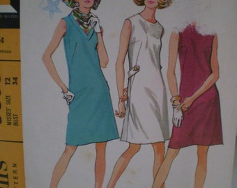 Vintage McCalls 9308 Pattern Dress And Scarf Year 1968  Size 12