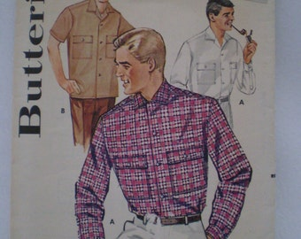 50s Butterick 2233 Mens Convertible Collared Sport Shirt Size Large 16 inch Neck