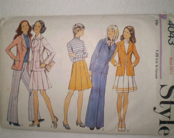 Style Pattern 4043 1970s Jacket Skirt And Trousers Size 10 Bust 32.5