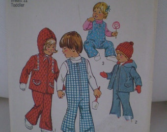 Simplicity 6636 Size 2  Year 1974  Vintage Child Pattern Bell Bottom Overalls Hooded Jacket