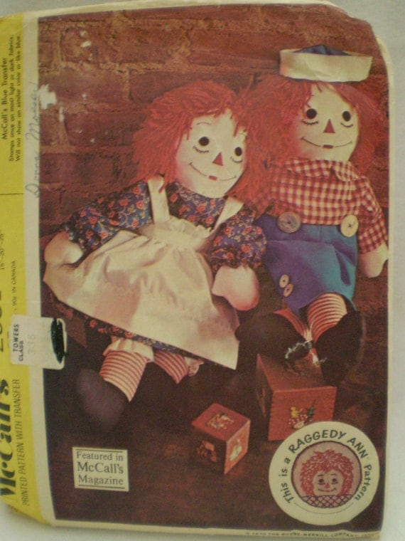Vintage McCalls 2531 Raggedy Ann and Raggedy Andy Vintage Sewing Pattern - Doll Pattern