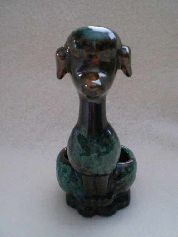 SALE Vintage LIPSTICK HOLDER Blue Mountain Pottery Poodle Dog Figurine