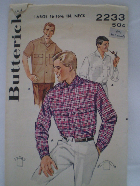50s Butterick 2233 Mens Convertible Collared Sport Shirt
