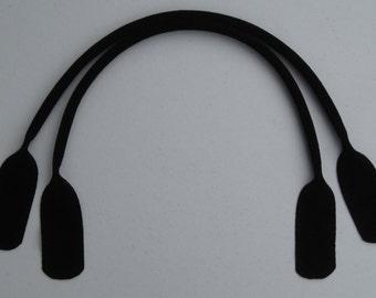 24-inch Black Suede Tote Handles
