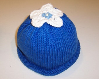Toddler's Flower-Topped Handknit Hat
