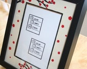 Decoupage Red  Flowering Branch Frame