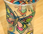 Stained Glass Butterfly Vase
