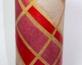 Golden Stripes Decoupaged Glass Vase