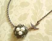 Bird Nest Necklace Pearl Birdnest, Mama Bird's Nest Pendant with Pearls Wire  Wrapped Nest Jewelry