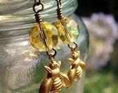 Bee Earrings Citrine Yellow Beaded Bee Dangle Earrings Bee Earrings HoneyBee Jewelry