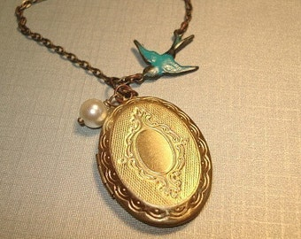 Blue Bird Locket Necklace Brass Oval Locket Vintage Locket Locket and Pearl Necklace Bridesmaid Lockets Jewelry