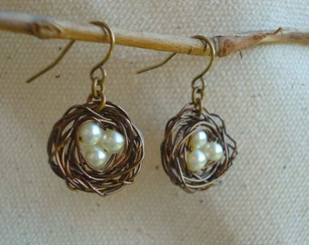 Nest Earrings Birdnest Earrings Pearl Earrings Bird Nest Earrings Wire Egg Nest Earrings Jewelry, Mom, Weddings, Bridesmaids Earrings