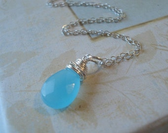 Blue Chalcedony Necklace Blue Stone Necklace Blue Briiolette Teardrop on Silver Chain Pendant Beach Jewelry
