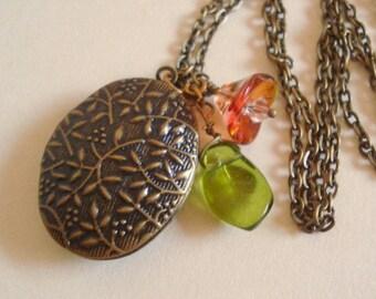 Brass Locket Garden Necklace Brass Oval Locket Necklace Vine Flower Locket, Jewelry Pendant Brass Locket Sunrise Morning Necklace
