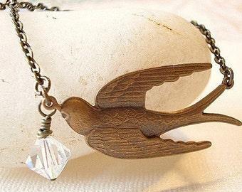 Brass Bird Necklace Swallow Bird Pendant Flying Bird Necklace, Vintage Bird Necklace Jewelry