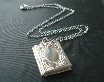 Book Locket Silver Book Necklace Storybook Locket, Silver Locket Necklace, Locket Jewelry Silver Book Charm
