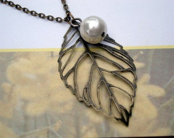 Brass Leaf Necklace with Ivory Pearl Fall Necklace