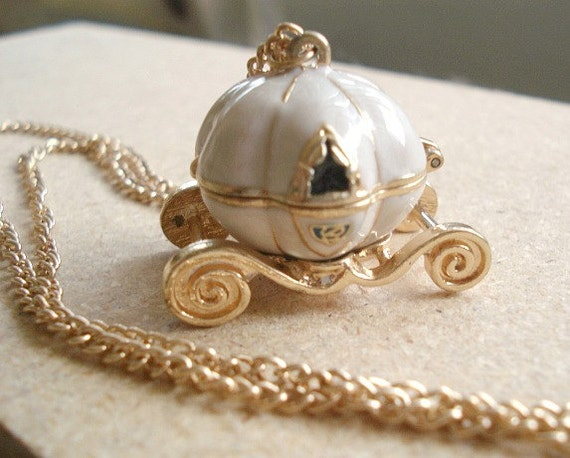 Cinderella Pumpkin Locket Carraige Necklace, Gold White Enamel Carraige with Long Gold Vintage Chain from USA