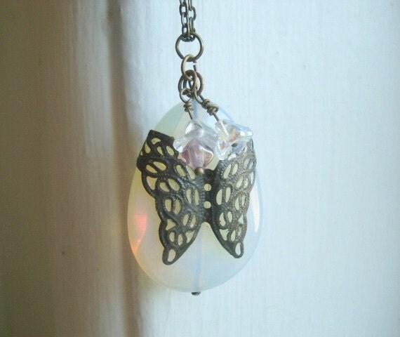 Butterfly Necklace Vintage Brass Butterfly  Opal Stone Teardrop Stone Jewelry - Ready To Ship