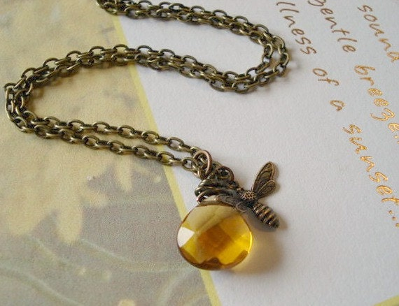 Bee Necklace Autumn Necklace Teardrop Topaz Pendant Bee Jewelry BrassHoneybee NecklaceTopaz Briolette Stone Bee Jewelry
