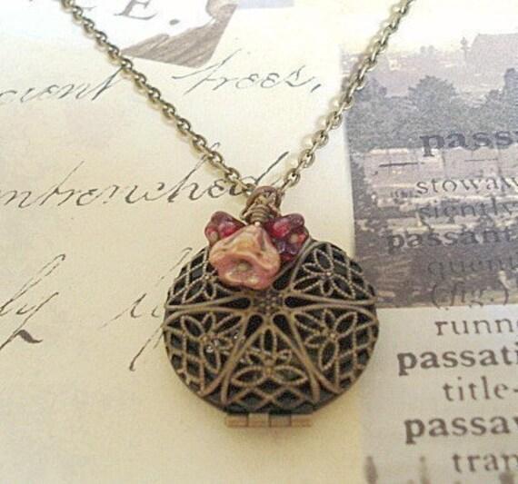 Brass Locket Necklace Vintage Locket Necklace, Brass Locket Round Filigree Brass Locket Jewelry Filigree Locket