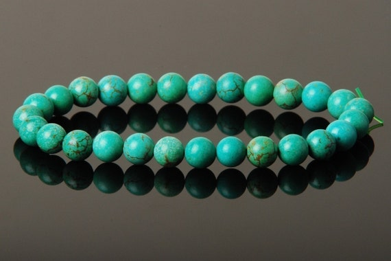 Handmade 7mm Turquoise Stretch Bracelet-6 Dollar Items are 4 For 20 Dollars