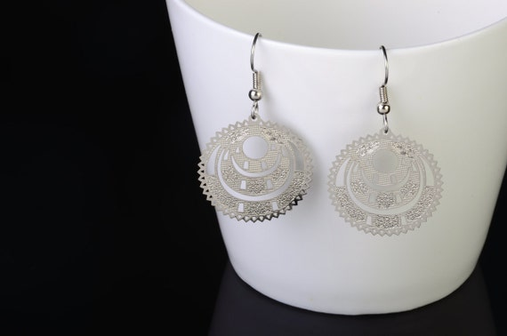 Silver Dangle Earrings Wedding Party Gifts Filigree Earrings Party Favors