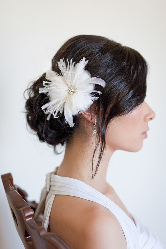 RESERVED for katiedoc313 - GEORGETTE Feather Hair Piece Flower Bridal Headpiece Wedding Hair Flower