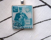 Pendant made with vintage postage stamp - free shipping