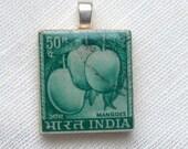 Postage stamp pendant - Indian mangoes - free shipping