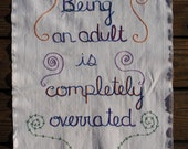 Forever Young, hand embroidered tapestry, birthday gift, boho wall art