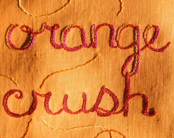 Orange Crush, Embroidered Poem, Original Art, Crush, Tapestry, Wall Art, Tiger, Tangerine, Bohemian