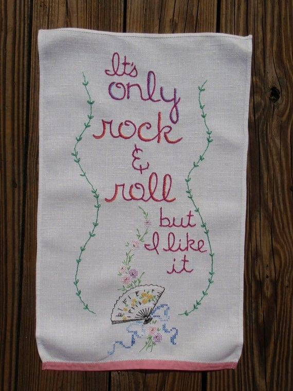 Only Rock & Roll, embroidered art, mick jagger, keith richards, rolling stones, ooak, wall decor, bohemian, rock n roll