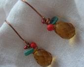 Amber crystal briolette earrings-FREE SHIPPING WORLDWIDE