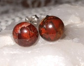 Ear Studs 10mm Red Poppy Jasper Titanium Posts and Clutches Hypo Allergenic Made in Newfoundland Relaxation