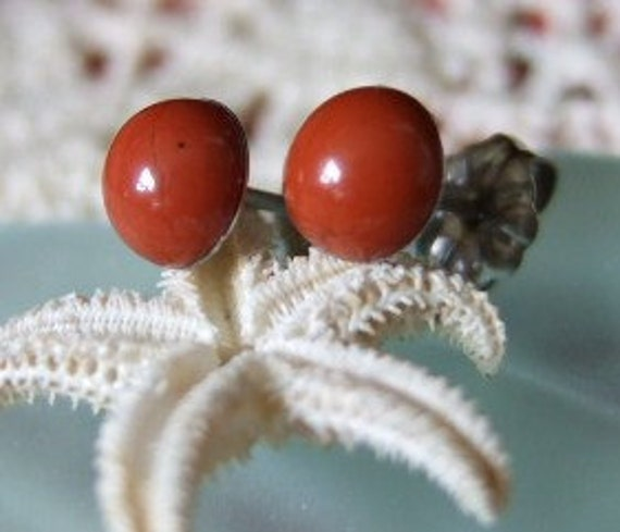 Red Jasper 6mm Stud Earrings Earings Titanium Posts and Clutches Hypo Allergenic Made in Newfoundland Rusty Red