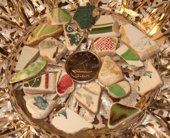 Vintage Ocean Tumbled Beach Sea Pottery Shards Greens Pink Green and White Shard Art Mosaics Beach Crafts