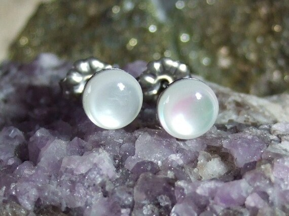 Mother of Pearl Stud Earrings Earings Titanium Post and Clutch 6mm Round Handcrafted Opalescent Shell Hypo Allergenic