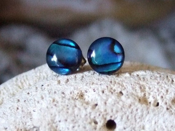 8mm Blue Paua Shell Stud Earrings Titanium Posts and Clutches Handmade in Newfoundland Round Deep Blue with Green Hypo-Allergenic